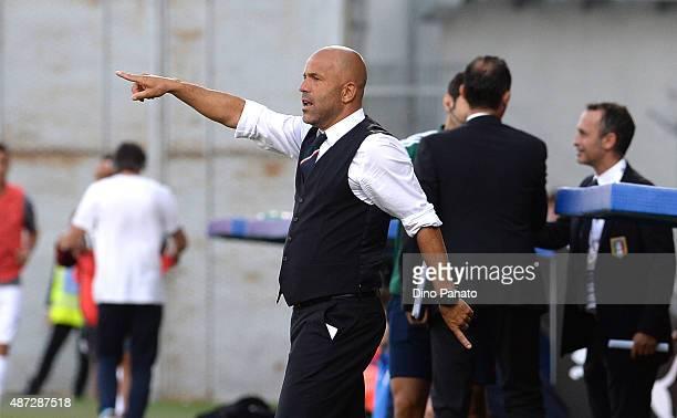 Head coach of Italy U21 Luigi Di Biagio reacts during the 2017 UEFA European U21 Championships Qualifier between Italy U21 and Slovenia U21 at Mapei...