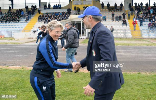 Head coach of Italy women's U16 Massimo Migliorini shakes hands with Cecile Locatelli head coach of France women's U16 during the 2nd Female...