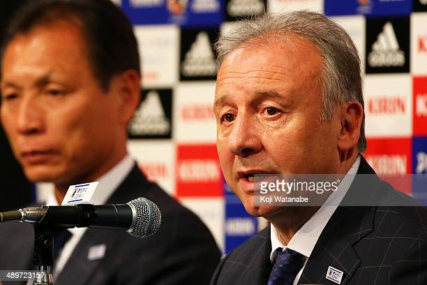 Head Coach of Japan Alberto Zaccheroni announces the Japan squad for the 2014 FIFA World Cup during a news conference at Grand Prince Hotel Takanawa...