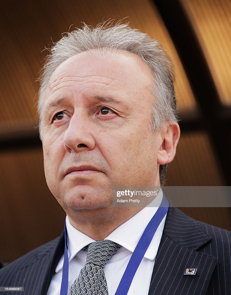 Head coach of Japan Alberto Zaccheroni watched the the teams line up before the FIFA World Cup Asian qualifier match between Jordan and Japan at King Abdullah International Stadium on March 26, 2013 in Amman, Jordan.