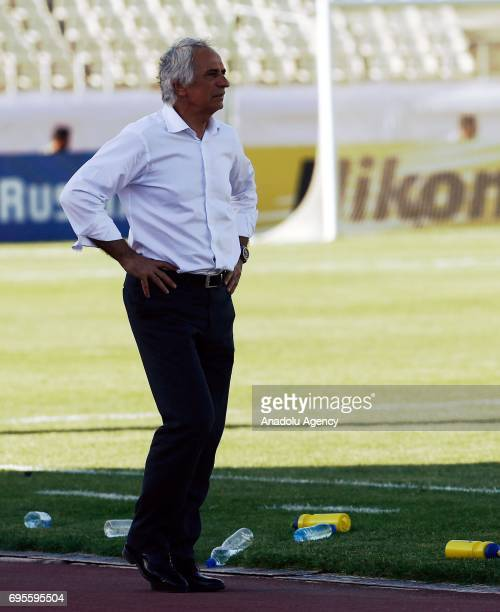 Head coach of Japan Vahid Halilhodzic looks on during the 2018 FIFA World Cup Asian Qualifying group B football match between Iraq and Japan at...