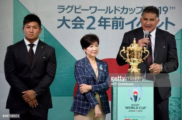 Head coach of Japan's national team Jamie Joseph speaks beside Japan's player Shuhei Matsuhashi and Tokyo Governor Yuriko Koike as the World Cup...