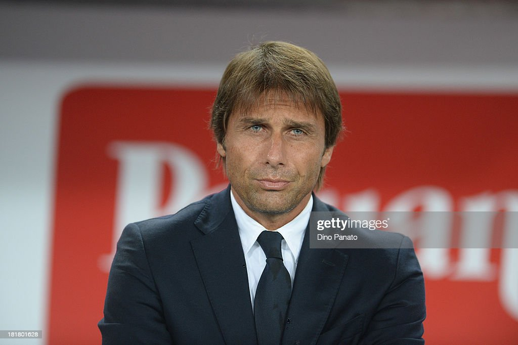 Head coach of Juventus <a gi-track='captionPersonalityLinkClicked' href=/galleries/search?phrase=Antonio+Conte&family=editorial&specificpeople=2379002 ng-click='$event.stopPropagation()'>Antonio Conte</a> looks on during the Serie A match between AC Chievo Verona and Juventus at Stadio Marc'Antonio Bentegodi on September 25, 2013 in Verona, Italy.