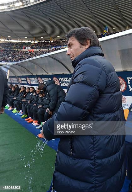 Head coach of Juventus Antonio Conte looks on during the Serie A match between Hellas Verona FC and Juventus at Stadio Marc'Antonio Bentegodi on...
