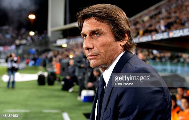 Head coach of Juventus Antonio Conte looks on during the Serie A match between Udinese Calcio and Juventus at Stadio Friuli on April 14 2014 in Udine...