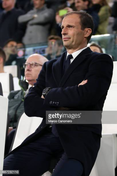Head Coach of Juventus Fc Massimiliano Allegri looks on before the UEFA Champions League Round of 16 second leg match between Juventus Turin and FC...