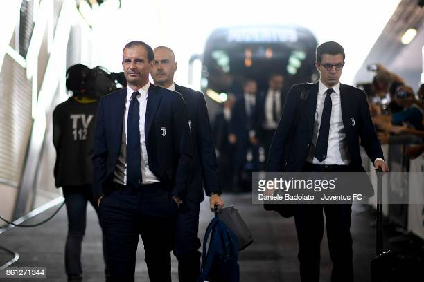 head coach of Juventus Massimiliano Allegri arrives at Allianz Stadium before the Serie A match between Juventus and SS Lazio on October 14 2017 in...