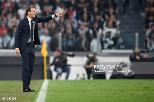 head coach of Juventus Massimiliano Allegri gestures during the Serie A match between Juventus and SS Lazio on October 14 2017 in Turin Italy