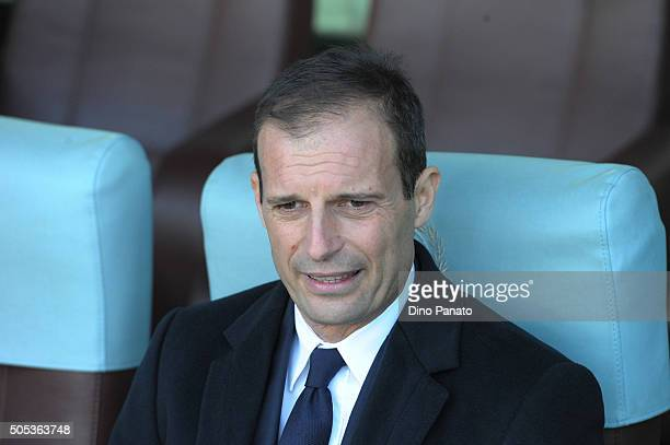 Head coach of Juventus Massimiliano Allegri looks on during the Serie A match between Udinese Calcio and Juventus FC at Stadio Friuli on January 17...