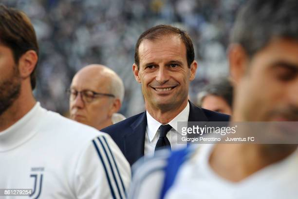 head coach of Juventus Massimiliano Allegri looks on during the Serie A match between Juventus and SS Lazio on October 14 2017 in Turin Italy