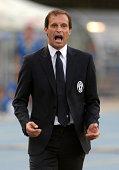Head coach of Juventus Massimiliano Allegri reacrs during the Serie A match between AC Chievo Verona and Juventus FC at Stadio Marc'Antonio Bentegodi...