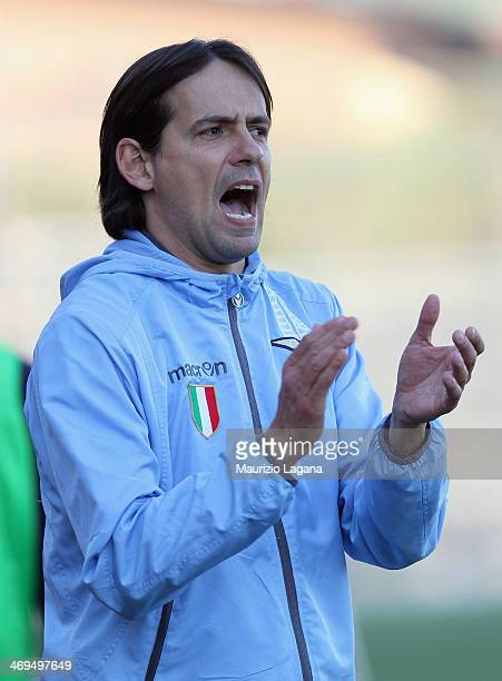 Head coach of Lazio Simone Inzaghi during the juvenile match between Calcio Catania and SS Lazio at Torre del Grifo Village on February 15 2014 in...
