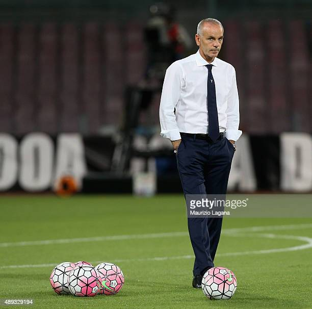 Head coach of Lazio Stefano Pioli prior the Serie A match between SSC Napoli and SS Lazio at Stadio San Paolo on September 20 2015 in Naples Italy