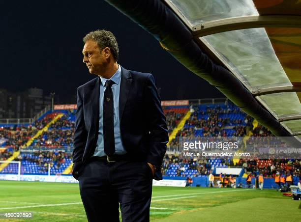 Head coach of Levante Joaquin Caparros looks on prior to the start the La Liga match between Levante UD and Elche FC at Ciutat de Valencia on...