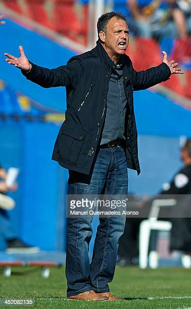 Head coach of Levante Joaquin Caparros reacts during the La Liga match between Levante UD and Villarreal CF at Ciutat de Valencia on November 24 2013...