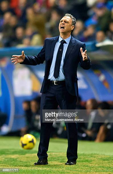 Head coach of Levante Joaquin Caparros reacts during the La Liga match between Levante UD and Elche FC at Ciutat de Valencia on December 13 2013 in...