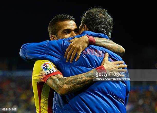 Head Coach of Levante UD Joaquin Caparros embrance to Daniel Alves of Barcelona prior to the start the Copa del Rey Quarter Final First Leg match...