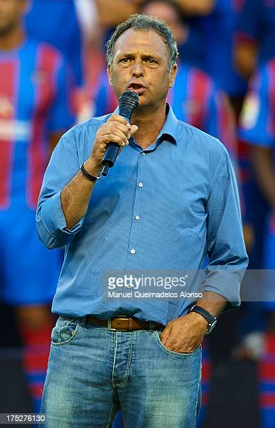 Head coach of Levante UD Joaquin Caparros gives a speech during his presentation prior to the start a friendly match between Levante UD and Hellas...