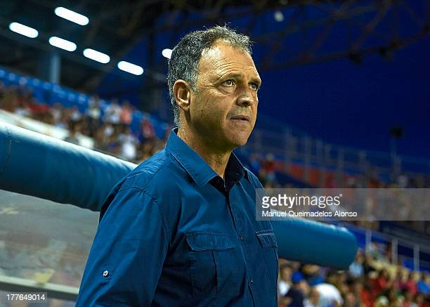 Head Coach of Levante UD Joaquin Caparros looks on prior the La Liga match between Levante UD and Sevilla FC at Ciutat de Valencia Stadium on August...