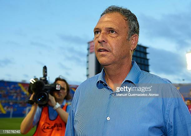 Head coach of Levante UD Joaquin Caparros looks on prior to the start a friendly match between Levante UD and Hellas Verona at Estadio Ciutat de...