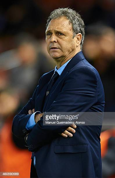 Head Coach of Levante UD Joaquin Caparros looks on prior to the start of the La Liga match between Valencia CF and Levante UD at Estadio Mestalla on...