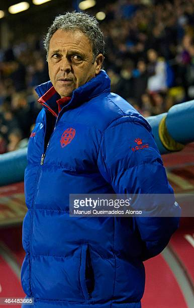 Head Coach of Levante UD Joaquin Caparros looks on prior to the start the Copa del Rey Quarter Final First Leg match between Levante UD and FC...