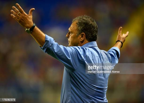 Head coach of Levante UD Joaquin Caparros reacts during a friendly match between Levante UD and Hellas Verona at Estadio Ciutat de Valencia on August...