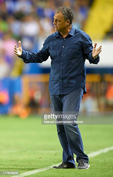 Head Coach of Levante UD Joaquin Caparros reacts during the La Liga match between Levante UD and Sevilla FC at Ciutat de Valencia Stadium on August...