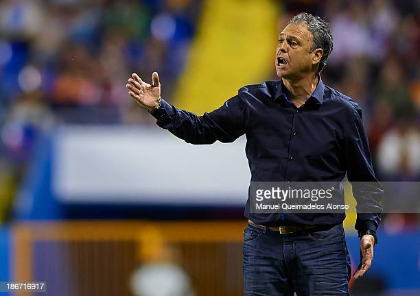 Head Coach of Levante UD Joaquin Caparros reacts during the La Liga match between Levante UD and Granada CF at Ciutat de Valencia Stadium on November...