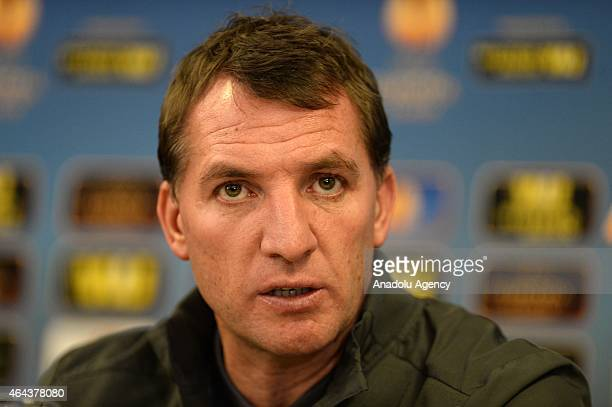 Head coach of Liverpool Brendan Rodgers attends a press conference in Istanbul Turkey on February 25 2015 Liverpool FC will face Besiktas JK in the...
