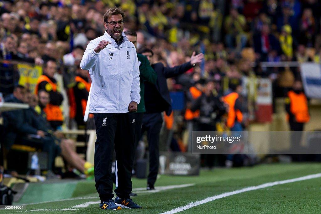 Head coach of Liverpool FC Jurgen Klopp during UEFA Europa League semi-final first leg match between Villarreal CF and Liverpool FC at El Madrigal Stadium in Villarreal on April 28, 2016.