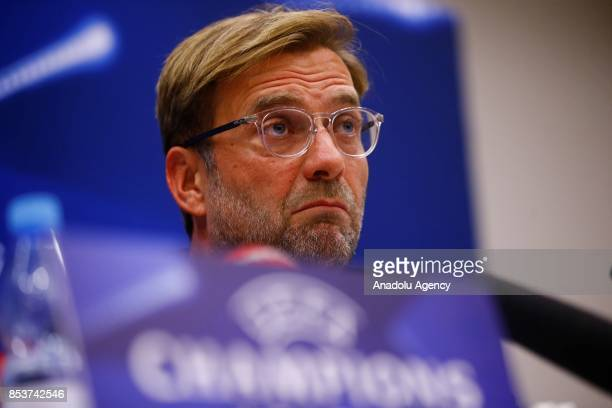 Head Coach of Liverpool FC Yurgen Klopp and Goalkeeper of Liverpool FC Loris Karius hold a press conference ahead of the the UEFA Champions League...