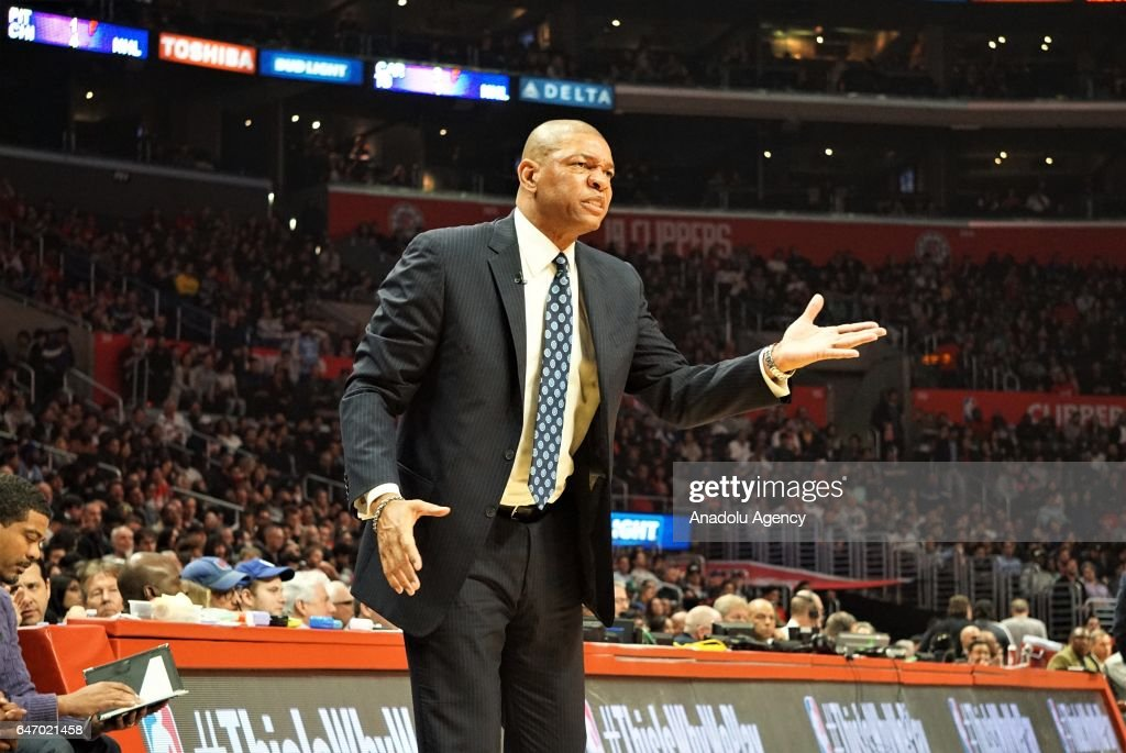 Head Coach of Los Angeles Clippers Doc Rivers reacts during the NBA match between Los Angeles Clippers and Houston Rockets at Staples Center in Los Angeles, United States on March 2, 2017.
