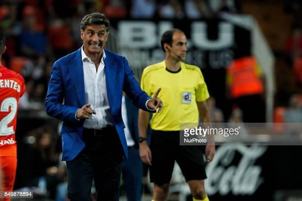 Head coach of Malaga CF Jose Miguel Gonzalez Martin del Campo Michel of Malaga CF during spanish La Liga match between Valencia CF vs Malaga CF at...