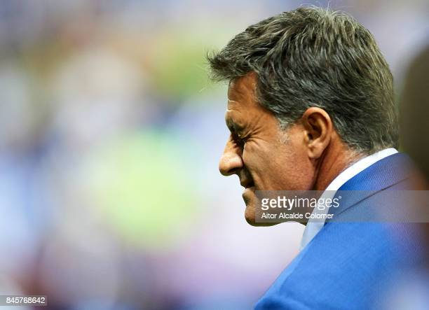 Head Coach of Malaga CF Michel Gonzalez looks on during the La Liga match between Malaga and Las Palmas at Estadio La Rosaleda on September 11 2017...