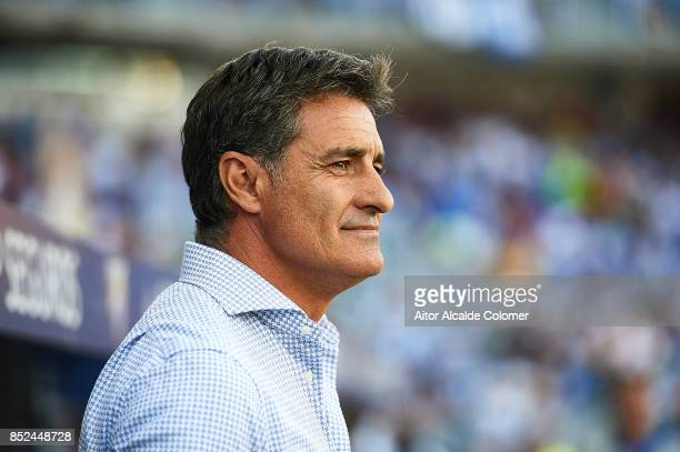 Head Coach of Malaga CF Michel Gonzalez looks on during the La Liga match between Malaga and Athletic Club at Estadio La Rosaleda on September 23...