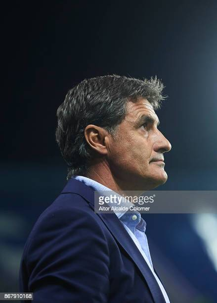 Head Coach of Malaga CF Michel Gonzalez looks on during the La Liga match between Malaga and Celta de Vigo at Estadio La Rosaleda on October 29 2017...