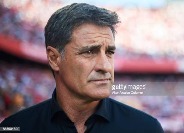 Head Coach of Malaga CF Michel Gonzalez looks on prior to the La Liga match between Sevilla and Malaga at Estadio Ramon Sanchez Pizjuan on September...