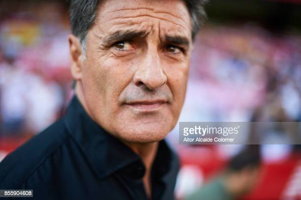 Head Coach of Malaga CF Michel Gonzalez looks on prior to the La Liga match between Sevilla and Malaga at Estadio Ramon Sanchez Pizjuan on September...