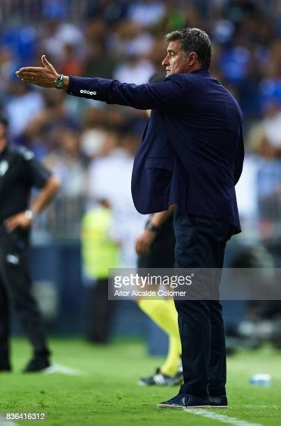 Head Coach of Malaga CF Michel Gonzalez reacts during the La Liga match between Malaga and Eibar at Estadio La Rosaleda on August 21 2017 in Malaga