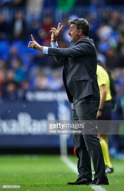 Head Coach of Malaga CF Michel Gonzalez reacts during the La Liga match between Malaga and Levante at Estadio La Rosaleda on December 1 2017 in...