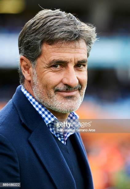 Head Coach of Malaga CF Michel Gonzalez reacts during the La Liga match between Real Sociedad de Futbol and Malaga CF at Estadio Anoeta on December...