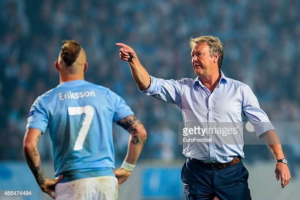 Head Coach of Malmo FF Age Hareide looks on during the UEFA Champions League playoff second leg football match between Malmo FF and FC Salzburg at...