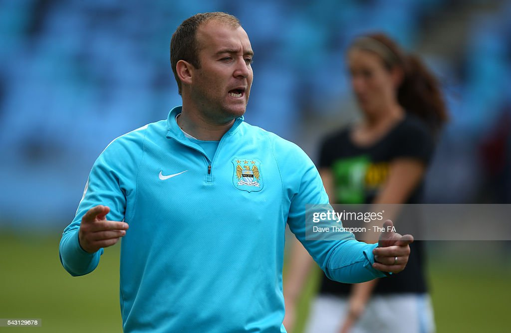 Head coach of Manchester City Women Nick Cushing during the FA WSL match between Manchester City Women and Liverpool Ladies FC on June 26, 2016 in Manchester, England.