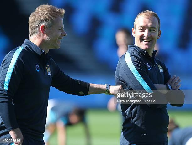 Head Coach of Manchester City Women Nick Cushing smiles before the Women's Super League match between Manchester City and Bristol Academy Women at...