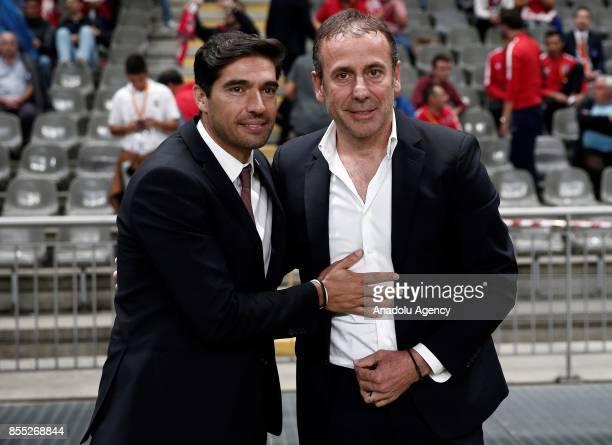 Head coach of Medipol Basaksehir Abdullah Avci and Head coach Abel Ferreira of Sporting Braga congratulate each other ahead of the UEFA Europa League...