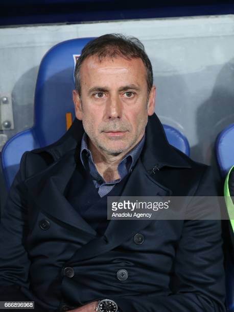 Head Coach of Medipol Basaksehir Abdullah Avci gestures during the Turkish Spor Toto Super Lig football match between Medipol Basaksehir and...