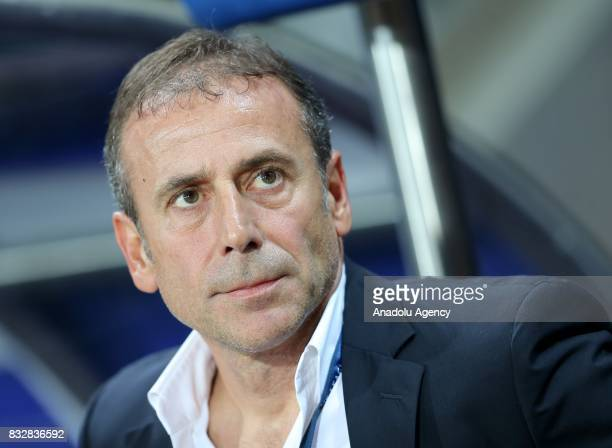 Head coach of Medipol Basaksehir Abdullah Avci looks on during the UEFA Champions League playoff match between Medipol Basaksehir and Sevilla FC at...