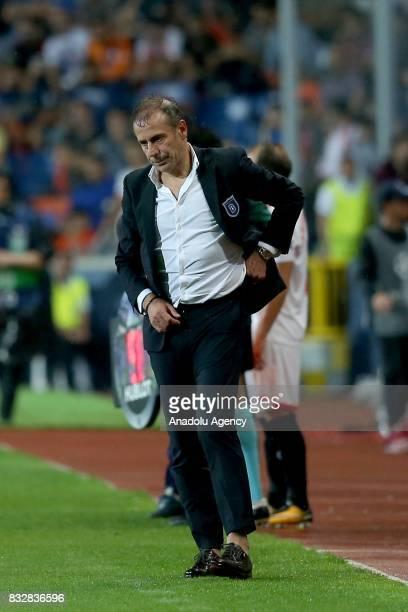 Head coach of Medipol Basaksehir Abdullah Avci reacts during the UEFA Champions League playoff match between Medipol Basaksehir and Sevilla FC at...