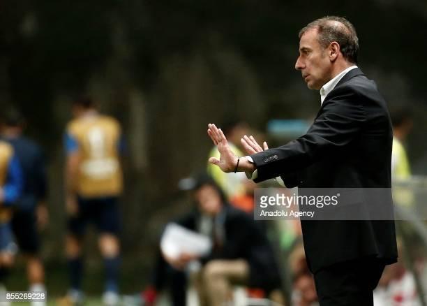 Head Coach of Medipol Basaksehir gestures during the UEFA Europa League Group C match between Sporting Braga and Medipol Basaksehir at the Braga...